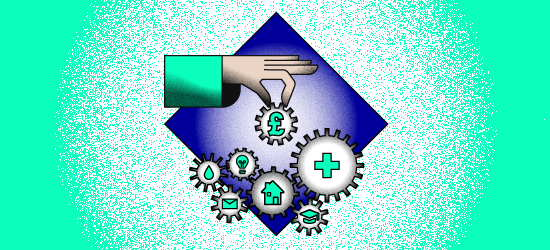 Illustration featuring fingers removing money cog from an interlinked series of cogs