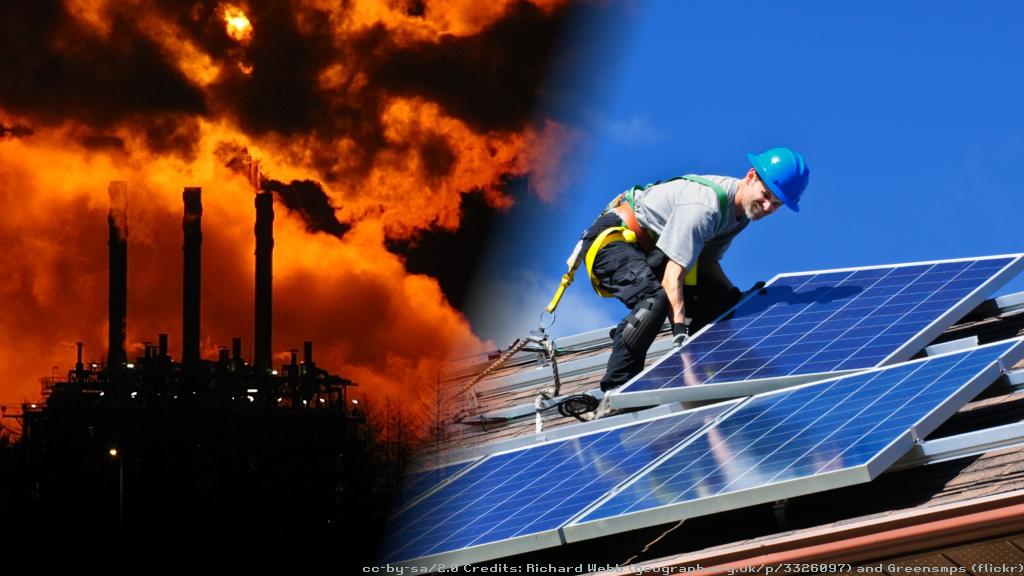 Mossmoran gas processing plant, Fife, and installing roof-top solar panels.