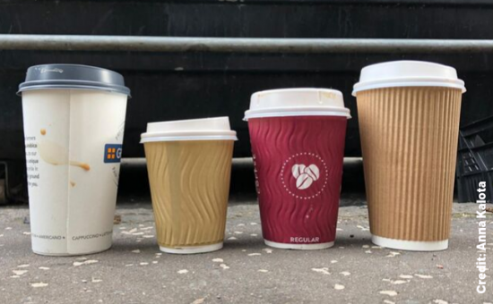 4 different types of single use coffee cups.