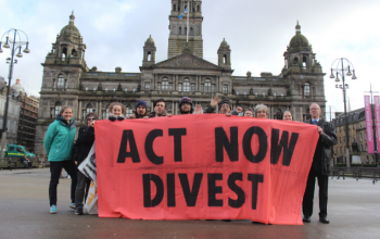 Activists outside Glasgow City Chambers