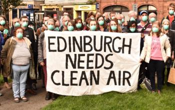 Protestors in Edinburgh demanding action for clean air